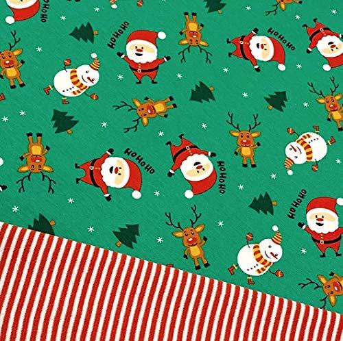 0,5x1,4m Jersey dunkelgrün Weihnachtsmann, Schneemann & Rentier HoHoHo & 0,5x 0,7m Ringel-Bündchen rot-weiß Breite 70cm (Schlauchware 2x35cm) Muster-Mix 95% Baumwolle 5% Elastan