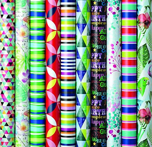 10 Rollen Geschenkpapier, Geburtstag, Feier Neutral 2m x0,7m