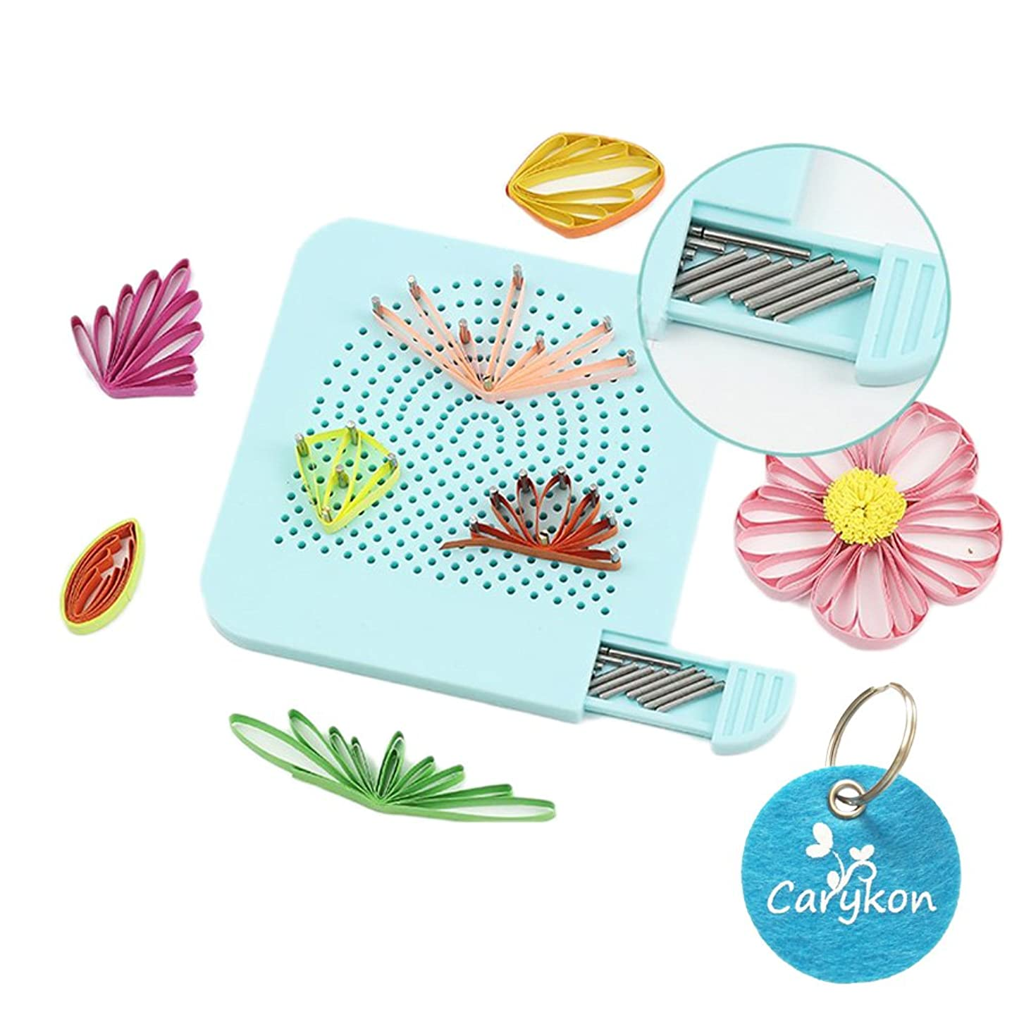 Carykon Roll Quiller's Grid Guide Quilling Board with Pins Storage for Paper Crafting Winder Roll Square Craft DIY Tool (Light Blue)