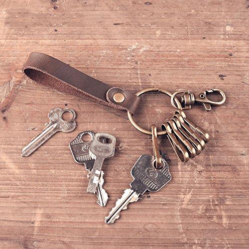 Jzcky Shzrp Retro Leather Key Chain Valet Keychain with Clasp