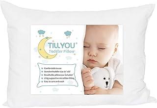 بالشتک کودک نوپای TILLYOU Hypoallergenic با بالش بچه های قابل شستشوی بالش برای خواب ، 100٪ پوشش بالش پنبه ای نرم و پوشاننده شامل 14x20 ، تختخواب کودک یا گربه مناسب ، اندازه سفر 13x18 سفید کوچک