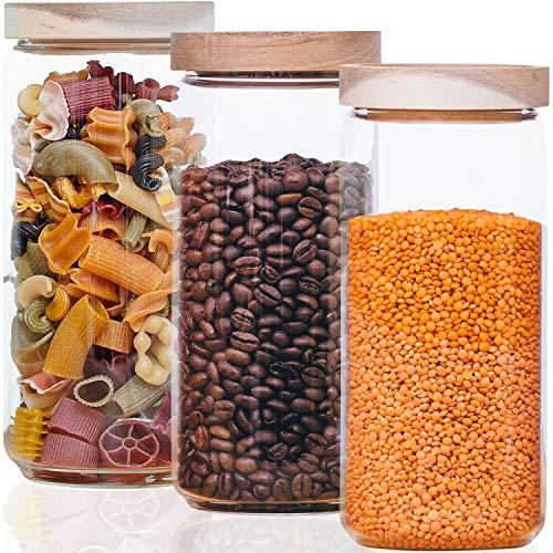 Econovo® Vorratsgläser Set mit Deckel (3-teilig) aus mundgeblasenem Borosilikatglas, stapelbar und luftdicht, Vorratsdosen Glas-Behälter Set für Lebensmittel groß und klein 1000ml
