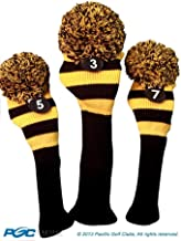 Majek Golf Club 3 5 7 Yellow and Black Limited Edition Fairway Wood Head Covers Tour Knit Retro Vintage Pom Classic Long Neck Metal Longneck Woods Headcovers