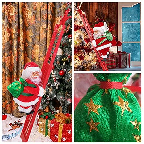 Babbo Natale elettrico, Babbo Natale su scala, scala di peluche, pupazzo di Babbo Natale, decorazione per la casa, decorazione (scala rossa)