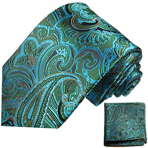 Cravate homme bleu vert paisley ensemble de cravate 2 Pièces ( 100% Soie Cravate + Mouchoir )