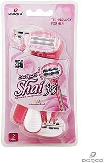 3-pack rakhyvel Dorco Shai, 3+3 bladig för kvinnor,tjejer