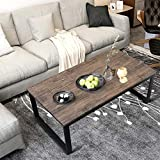 Aingoo Rustic Industrial Coffee Table with Metal Frame Cocktail Table for Living Room 43',Easy Assembly, Dark Brown CT-01