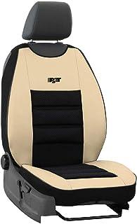 saferide | Sitzauflage Auto Vordersitze Autositzmatte Wasserdicht Autositzbezug Fahrersitz Universal Sitzschutz Kunstleder Beige für Airbag geeignet 1 Autositz Vorne