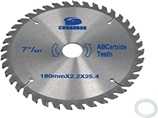 7 inch 60 Tooth Wood Cutting Disc Carbide Tipped Circular Saw Blade for Cutting Hard & Soft Wood with 1inch Arbor