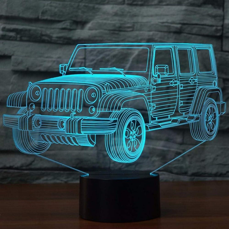 Zyue 3D Led Auto Nachtlicht Farbverlauf Jeep Form USB Nachttisch Schlafzimmer 3D Tischlampe USB Indoor Decora Atmosphre Lampe,Blautooth-Lautsprecher