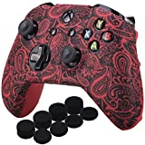 YoRHa Printing Rubber Silicone Cover Skin Case for Xbox One S/X Controller x 1(Flowers red) with PRO Thumb Grips x 8