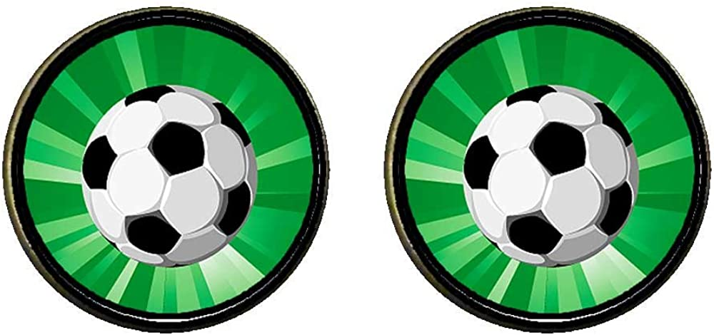 GiftJewelryShop Bronze Retro Style UEFA Euro match soccer ball Photo Clip On Earrings 14mm Diameter
