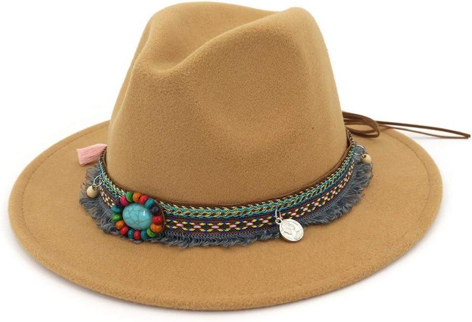 HXGAZXJQ Autumn Winter Cotton Sun Hat Fedora Hat Ladies Felt Hat Men Church Party with Woolen Hat Tassel Turquoise Decoration (Color : Khaki, Size : 59-60cm)