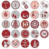 Oblique Unique 24 Adventskalender Sticker Zahlen Aufkleber für Weihnachten zum Basteln und...