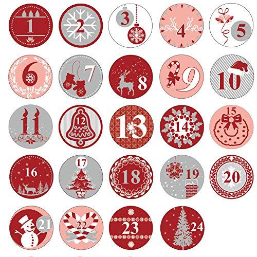 Oblique Unique® 24 Adventskalender Sticker Zahlen Aufkleber für Weihnachten zum Basteln und Verzieren - wählbar (Rot)