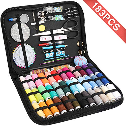 Premium Sewing Machine Kit 183PCS - Sewing Supplies Kit with Needle and Thread, Great for Adults, Kids, College Students, Traveler, Beginners, Emergency, Home