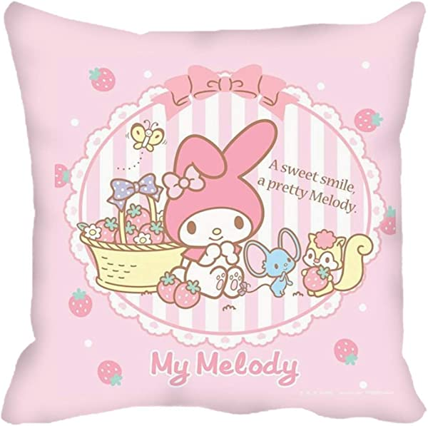 Peachy Baby Featuring My Melody Throw Pillow 40cm X 40cm With Insert Lots Of Options Cotton Cute Girly Pink A Pretty Melody And Her Friends