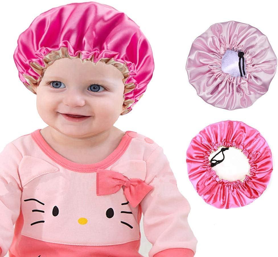 Satin Hair Bonnet For Sleeping 2 Pieces Kids Satin Bonnet Night Sleep Caps, Adjustable Double Layer Sleeping Hats, Showering Caps for Kids Girls Toddler Children Baby