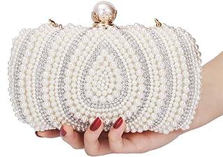 Fresh wild simple fashion Women's Rhinestone Studded Imitation Pearl Square Clutches Bags Banquet Party Wedding Bridal Bri...