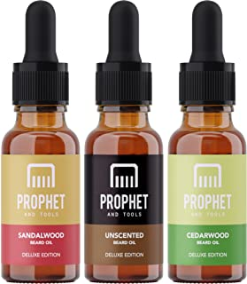 DELUXE EDITION 3 Beard Oils Set: Sandalwood, Cedarwood and Unscented - USA's TOP FAVORITE! Conditioner, Softener, Shine and Thicker Beard Growth - NUTS-FREE, VEGAN & HALAL! Prophet and Tools