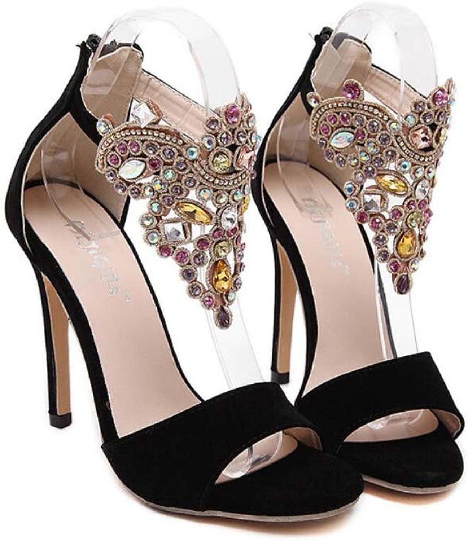 Large Size Women Pump shoes 12cm Stiletto Ankle Strap Sandals Dress shoes Open Toe D'Orsay Rhinestone Deco Zipper OL Court shoes Roma shoes EU Size 34-43
