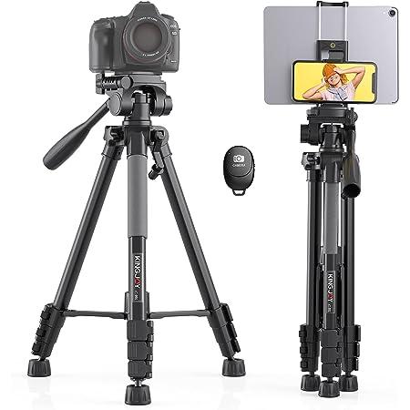 KINGJOY 三脚 スマートフォン 三脚 カメラ 全高150cm アルミ製 4段階伸縮 360°回転 三脚 タブレット iphone/Androidに対応 無線 リモコン 日本語取扱説明書付き
