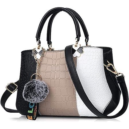 NICOLE & DORIS 2021 Neue Frauen Tasche Damen Leder Handtasche Mode Umhängetasche Mit Pompon abnehmbarem Schultergurt Handtasche Schwarz