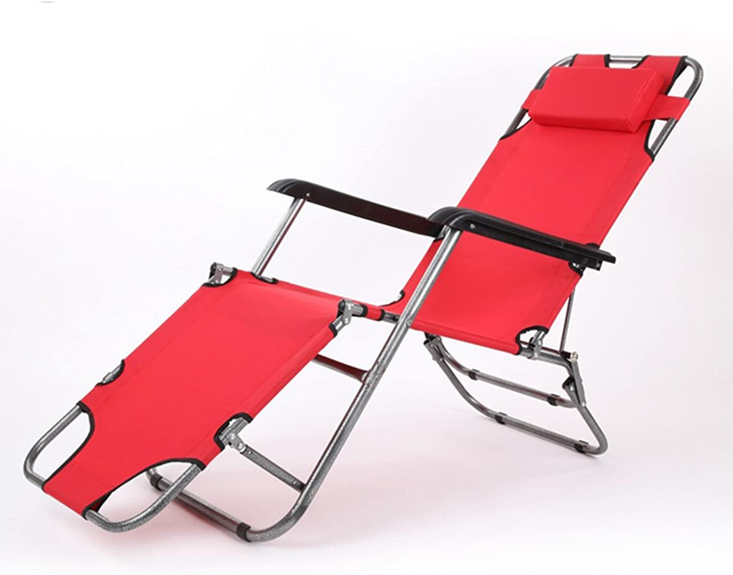 Lunch break deck chair   office nap bed   folding bed lounge chair   care bed ventilation widened tube ( color   Red )