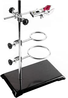 PUL FACTORY Laboratory Metalware Set,Support Stand 21x13.5cm, Rod 50cm Length, Retort Ring 6cm and 8cm in Dia.