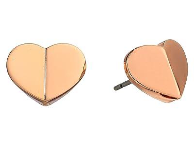 Kate Spade New York Heritage Spade Small Heart Studs Earrings (Rose Gold) Earring