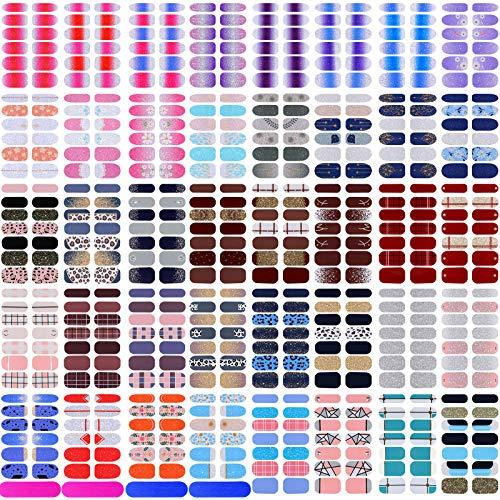 520 Stücke Vollabdeckung Nagellack Aufkleber Selbstklebende Nagelkunst Aufkleber Abziehbilder Nagellack Streifen mit Nagelfeilen für Frauen Mädchen DIY Nagelkunst (Unterschiedlich Stile)