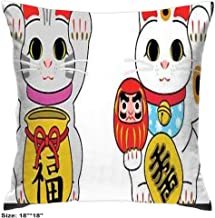 Cotton Pillowcase 4545 Inch Beckoning Cats Soft Comfortable Bedroom Living Room Home Decorate