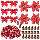 FEPITO 190 Unids Accesorios de Corona de Navidad Bayas Artificiales Bellota para Decoraciones de Corona de Navidad Artesanía de Navidad Decoración de Fiesta de Navidad