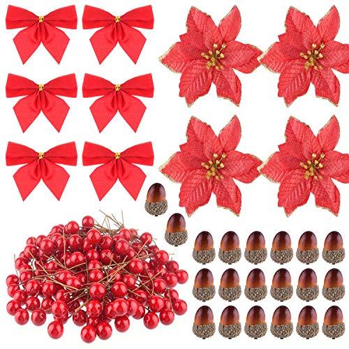 FEPITO 190 szt. Boże Narodzenie wieniec akcesoria sztuczne jagody żołędzie na Boże Narodzenie wieniec dekoracje świąteczne rzemiosło Boże Narodzenie impreza dekoracja