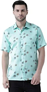 Zeal Shirts for Mens Half Sleeves Formal Regular Fit Cotton Floral Digital Print Latest Light Green