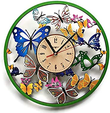 ShareArt Butterfly Silent Colored Wood Wall Clock - Original Home Nursery Living Room Bedroom Kitchen Decor - Best Gift for F