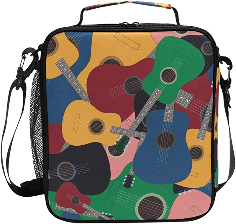 Colored Guitars Lunch Box Tote Reusable Insulated School Cooler Bag