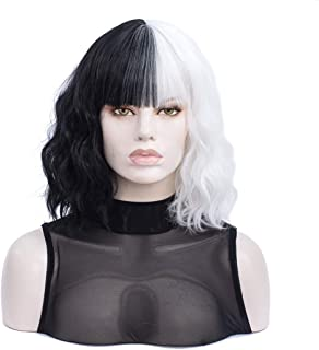 White and Black Wig | Morticia Short Curly Women Bob Wig Full Bang Wavy Texure Heat Resistant Synthetic Short Women Wig (W...