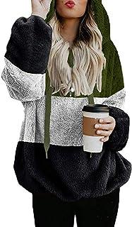 Fossen MuRope Rebecas Mujer Invierno de Felpa Clásica - Abrigos Mujer Invierno Elegantes Lana - Sudaderas Mujer de Color S...