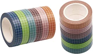 12 Rolls Grid Washi Tape Set 2/5in Width 33ft Length Writable Paper Adhesive Masking Tapes Sticky Paper Tape for DIY Scrap...