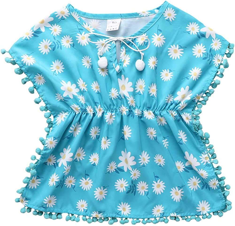 FINELOOK FINELOOK Toddler Baby Girls Swimwear Bikini Cover Up Pom Pom Tassel Poncho Beach Sundress