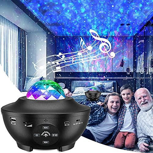 eLinksmart Proyector Estrellas, Lámpara de Nocturna & Océano con Múltiples Modos de Luz, Proyector Galaxy con Altavoz Bluetooth, Iluminación Nocturna para Niños con Temporizador