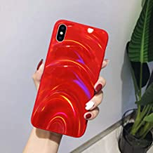 Urhause Glitter Funda Compatible con iPhone XS MAX Silicona Gelatina Suave Ligera Gel Carcasa Case Láser Colorido TPU Funda Ultrafina Flexible Anti-Choque Anti-Arañazos Bumper,Rojo