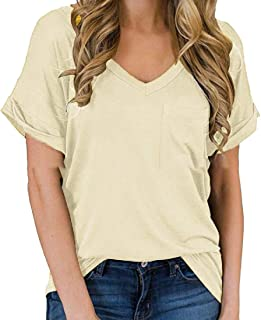 desolateness Women Solid Color Shirts Short Sleeve Front With Pocket Casual V Neck Loose Tunics Tops