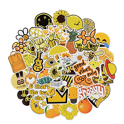 QIMMU teens Yellow Stickers, Stickers for Water Bottles, Waterproof Sticker for Suitcase, Waterproof Decals Vinyl for Phone, Stickers for Laptop iPhone Macbook Skateboard guitar 100PCS