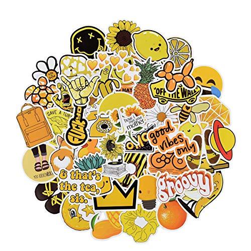 QIMMU 100PCS Yellow Stickers, Stickers for Water Bottles, Waterproof...