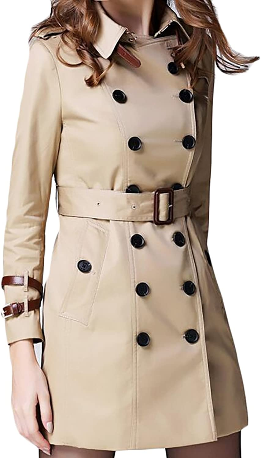 Esast Women Fashion Long Sleeve DoubleBreastedSolid color Lapel with Belt Wool Blend Pea Trench Coat