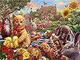 5D DIY diamante bordado gato punto de cruz granja diamante pintura venta animales otoño decoraciones A10 40x50cm