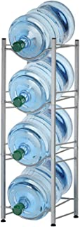 4-Tier Water Bottle Holder Shelf Cooler Jug Rack, Detachable Heavy Duty Water Bottle Cabby Rack, 5 Gallon Water Bottle Sto...
