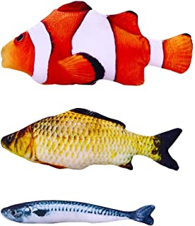KAILIN Catnip Toys Kitten Toys Cat Toy Fish Plush Fishes Dolls Interactive Pets Pillow Chew Toys for Cats Pet Supplies for Kitty